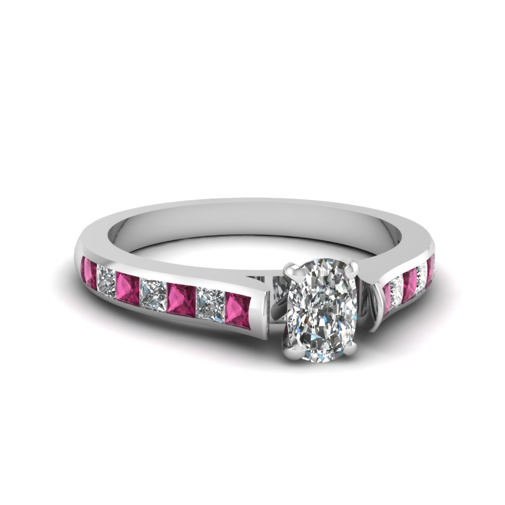 White Gold Cushion Cut Channel Engagement Ring in Pink Sapphire