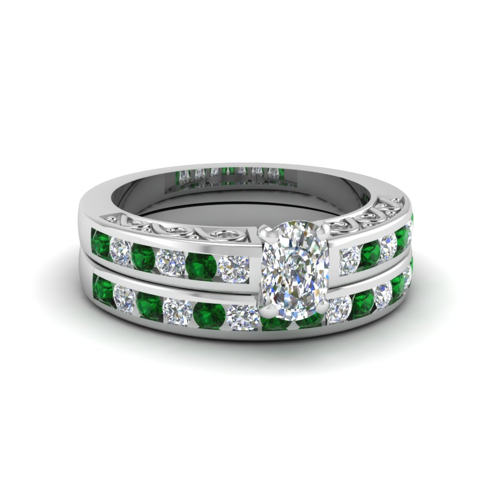cushion cut channel set diamond vintage wedding ring sets with emerald in FDENS817CUGEMGR NL WG