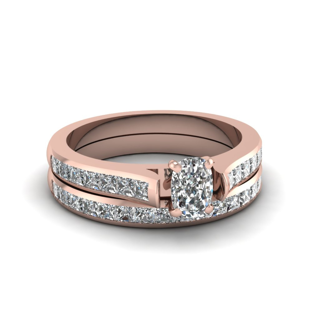 cushion cut channel set diamond wedding ring sets in 18K rose gold FDENS877CU NL RG 30
