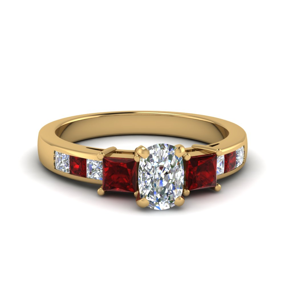 cushion cut channel three stone diamond engagement ring with ruby in 14K yellow gold FDENS205CURGRUDR NL YG