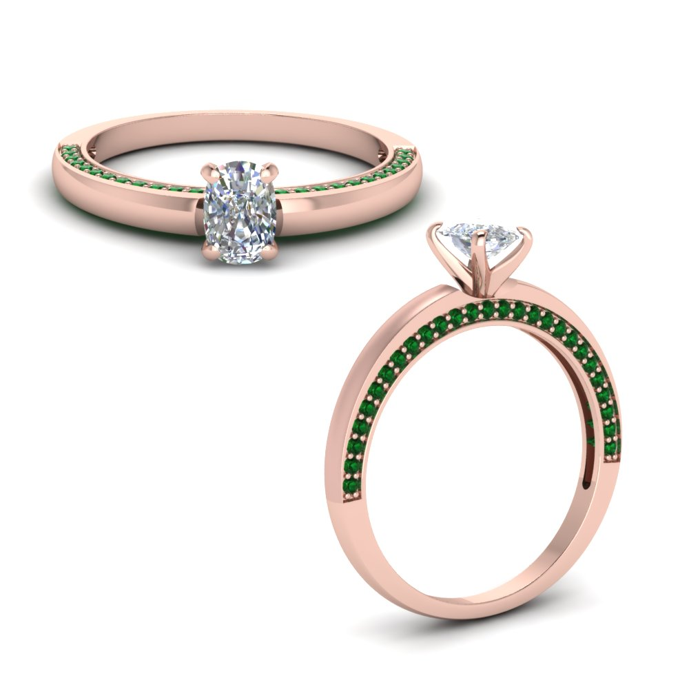 pave emerald side stone cushion cut engagement ring in FDENS3129CURGEMGRANGLE1 NL RG