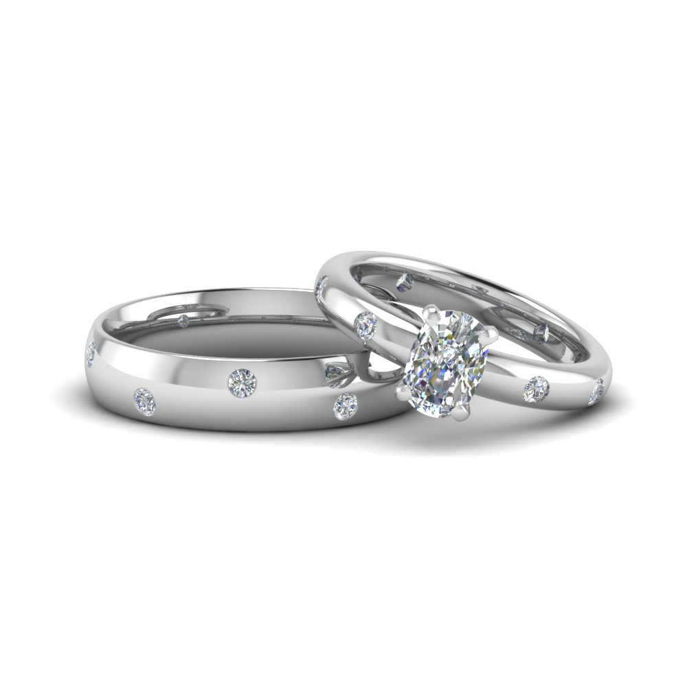 cushion cut couple wedding rings his and hers matching anniversary sets gifts in 14K white gold FD8150B NL WG