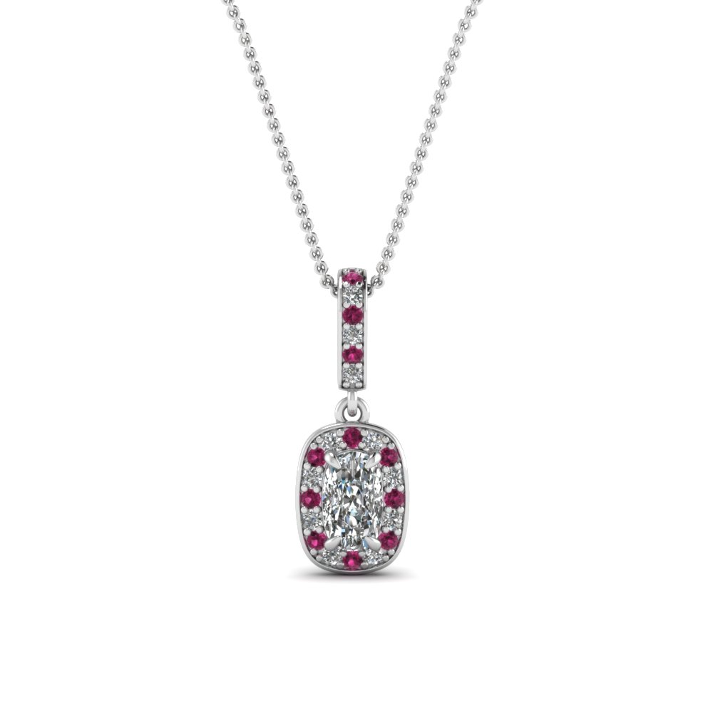 cushion cut dark pink sapphire fancy pendant in 14K white gold FDPD85656CUGSADRPI NL WG