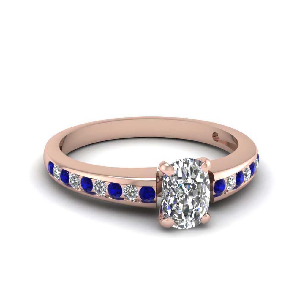 cushion cut delicate channel diamond engagement ring with sapphire in FDENS3018CURGSABL NL RG