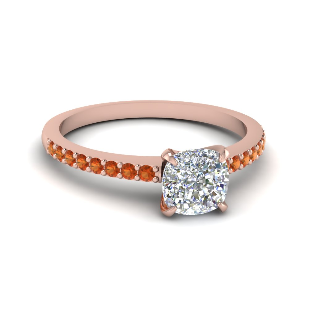 cushion cut delicate diamond engagement ring with orange sapphire in FD1026CURGSAOR NL RG GS