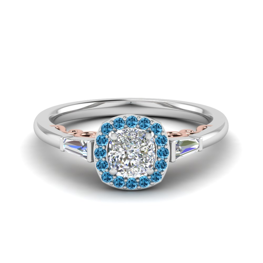 Cushion Cut Delicate Diamond Halo Engagement Ring With Ice Blue Topaz In  14k White Gold Fd122910curgicblto