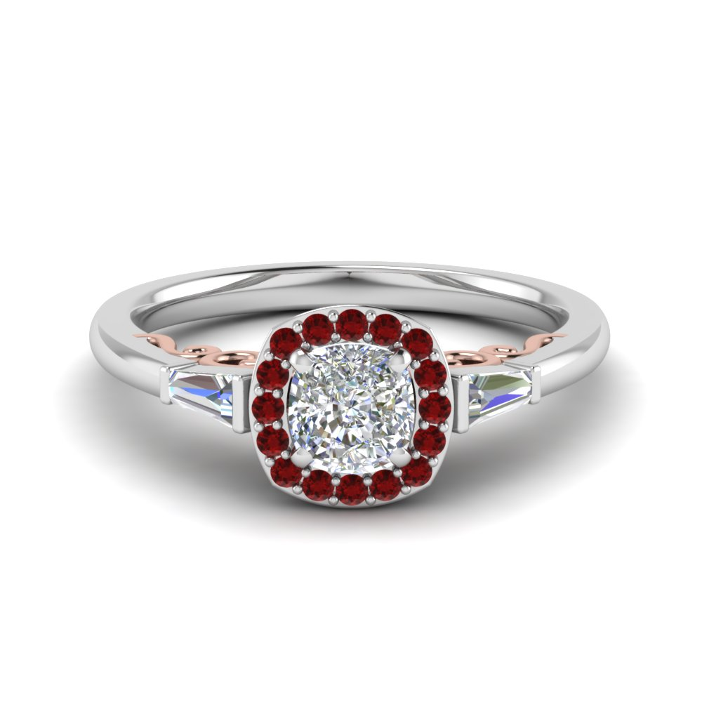 Halo Diamond Filigree Shank Ring Cushion Cut Diamond Vintage Engagement  Rings With Red Ruby In 18k White Gold