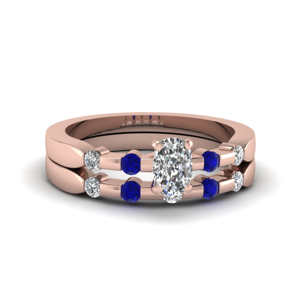 delicate cushion cut moissanite wedding ring set with sapphire in 14K rose gold FDENS3063CUGSABL NL RG