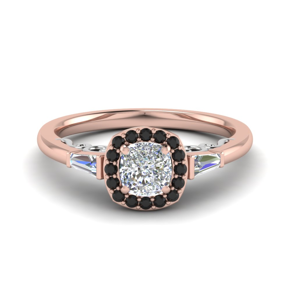Cushion Cut Delicate Halo Engagement Ring With Black Diamond In 14K Rose Gold