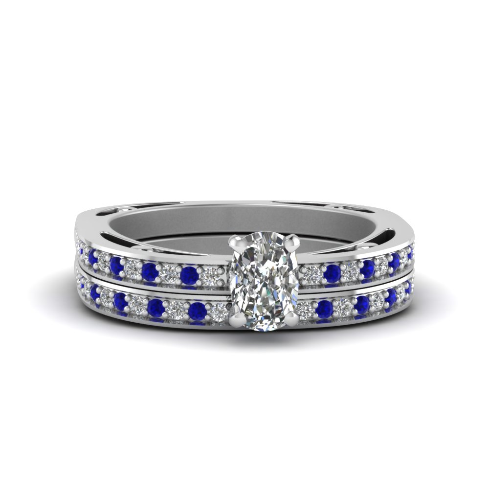 cushion cut delicate pave diamond wedding ring set with sapphire in FDENS3035CUGSABL NL WG