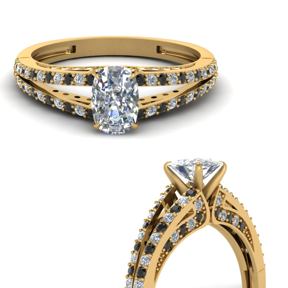 delicate split shank cushion engagement ring with black diamond in FDENS3131CURGBLACKANGLE3 NL YG.jpg