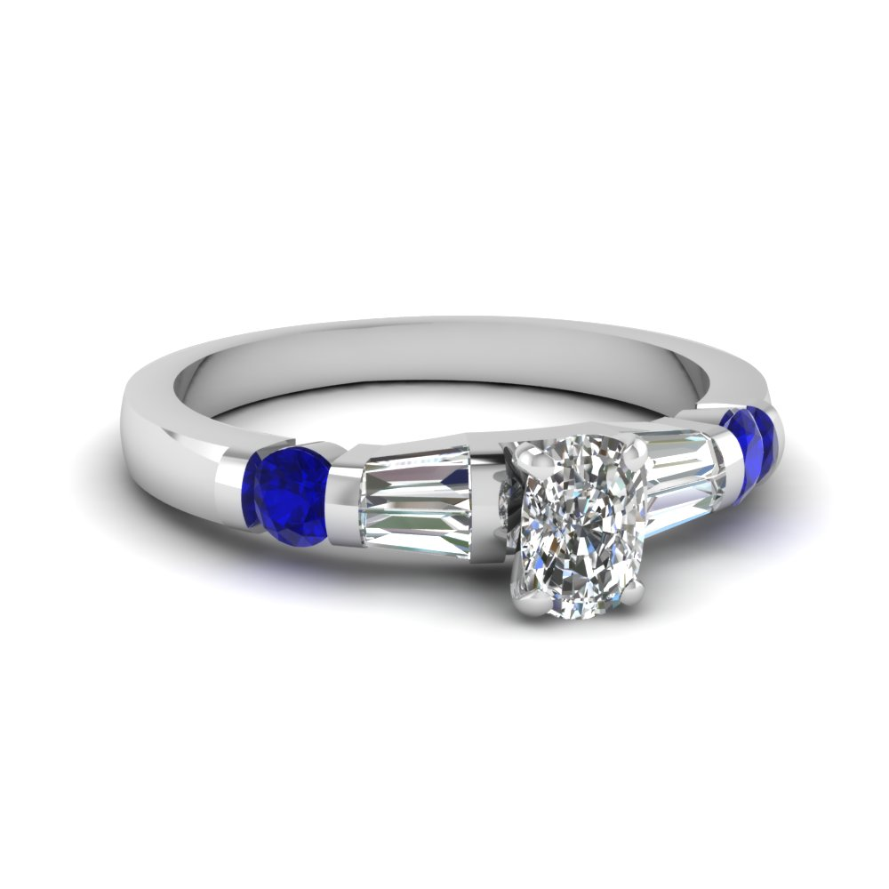 Cushion Cut Diamond Baguette Ring