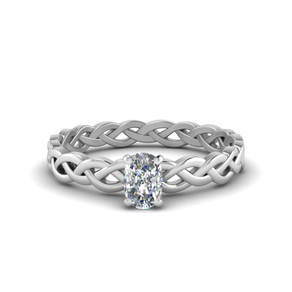 cushion cut braided solitaire engagement ring in FD8681CUR NL WG