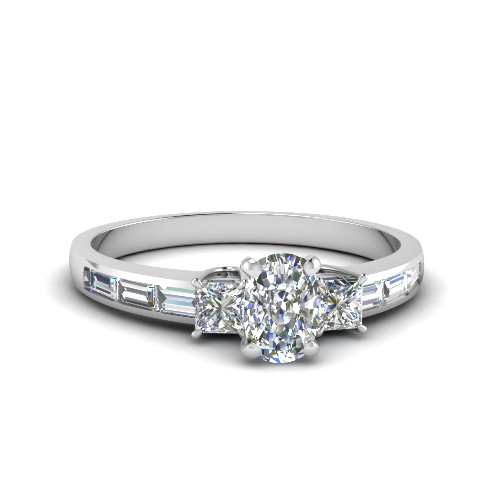 Cushion Cut & Baguette Diamond Ring