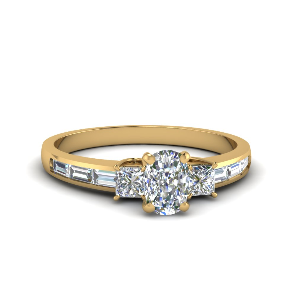 cushion cut diamond channel baguette and princess accent stone engagement ring in FDENS1021CUR NL YG