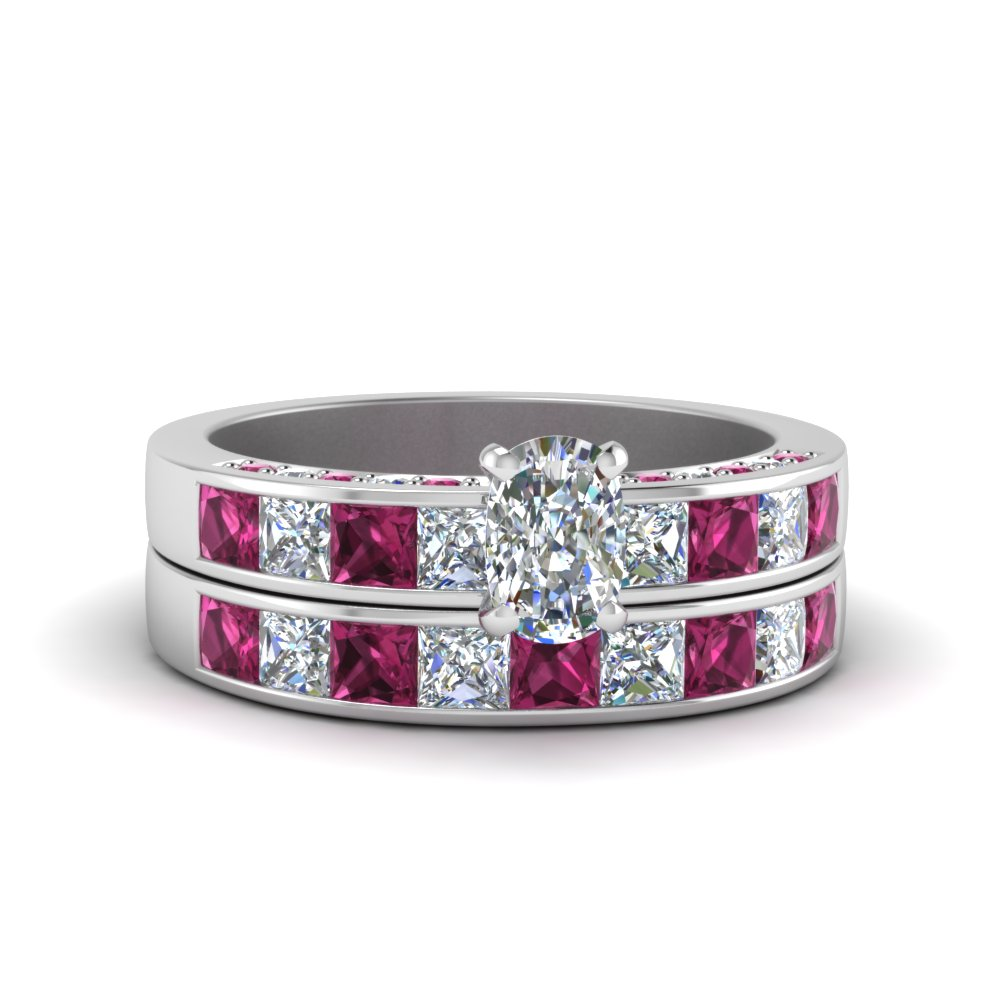 Channel Accented Diamond Wedding Set