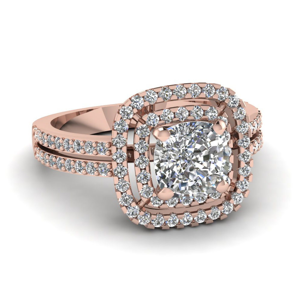 14k rose gold cushion cut engagement rings fascinating for Double band diamond wedding ring