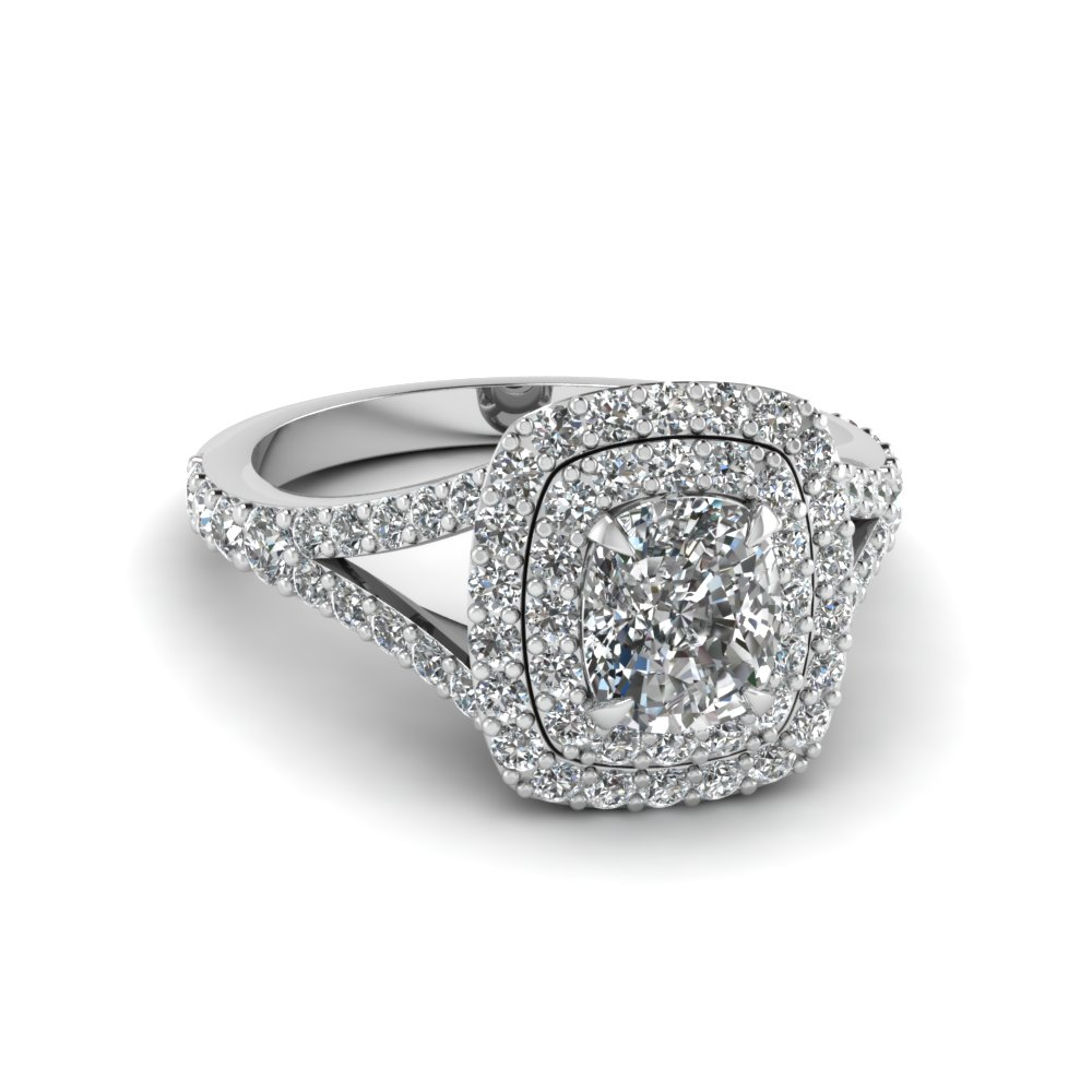 ring pave emerald engagement halo double triple white wedding gold row with featured rings cut in shank split diamond
