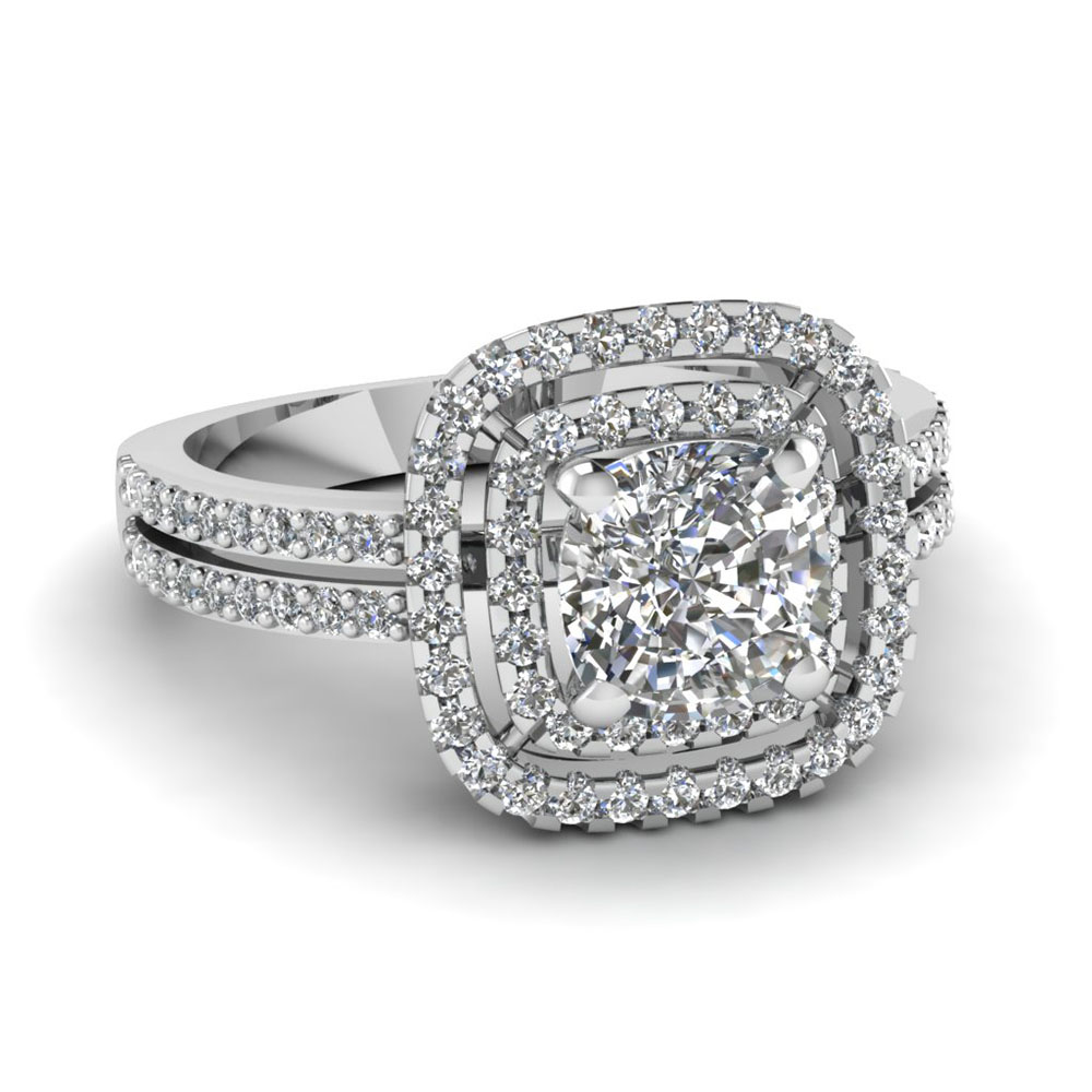 ring shank diamond rings rockher gold with crossover cusion rose engagement cut in pave cushion