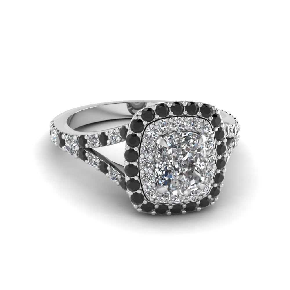 Cushion Cut Diamond Double Halo Engagement Ring With Black ...