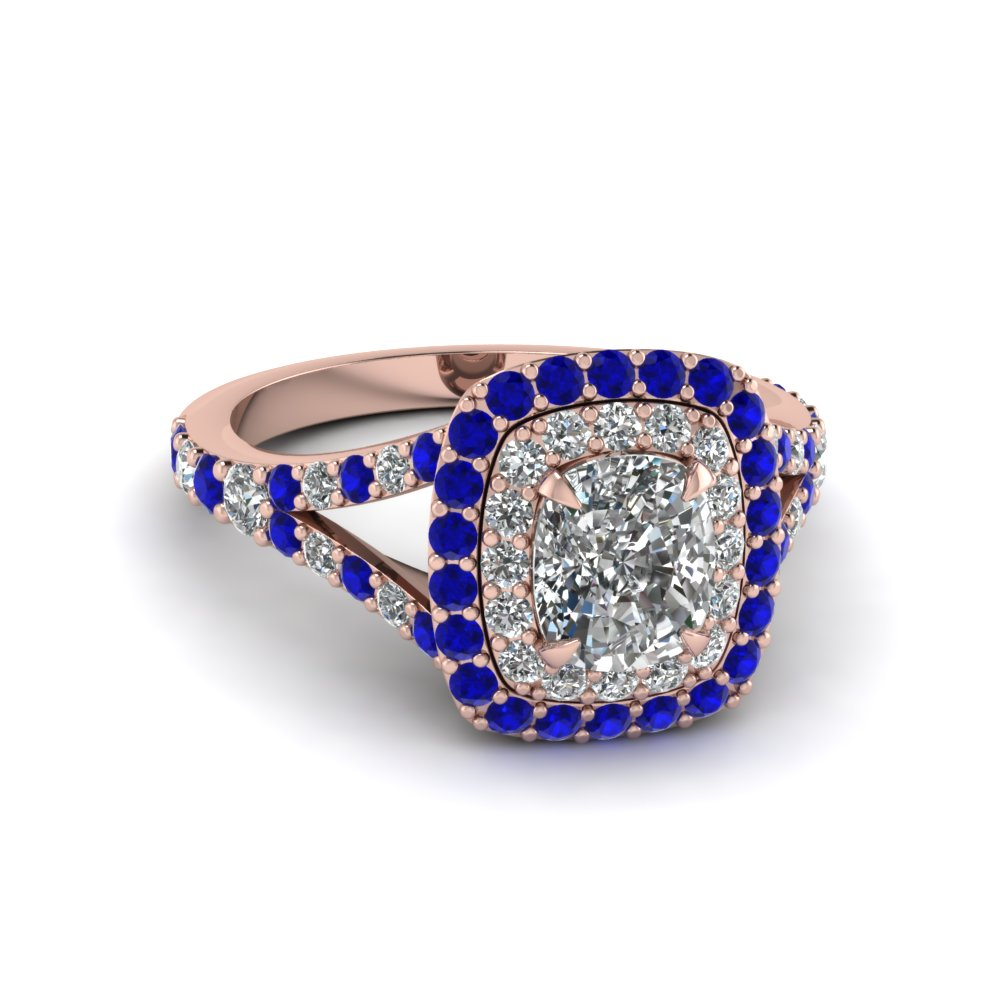 cushion cut diamond double halo engagement ring with sapphire in 14K rose gold FD1025CURGSABL NL RG