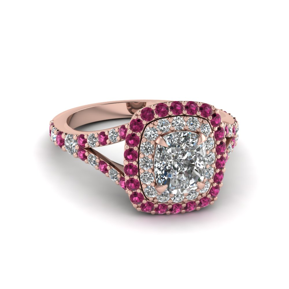 Cushion Cut Diamond Double Halo Engagement Ring With Pink Sapphire In 14K Ros