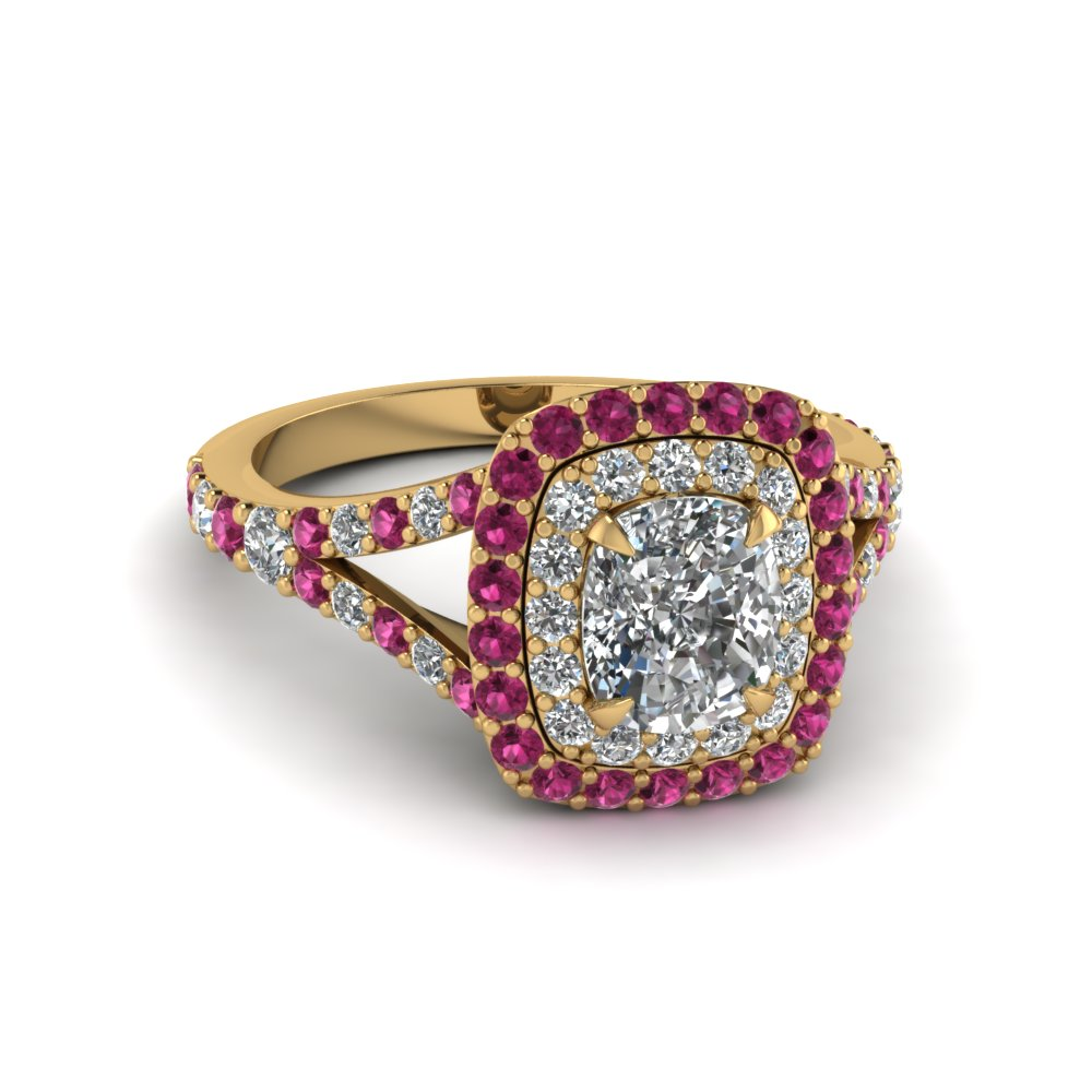 cushion cut diamond double halo engagement ring with pink sapphire in 14K yellow gold FD1025CURGSADRPI NL YG