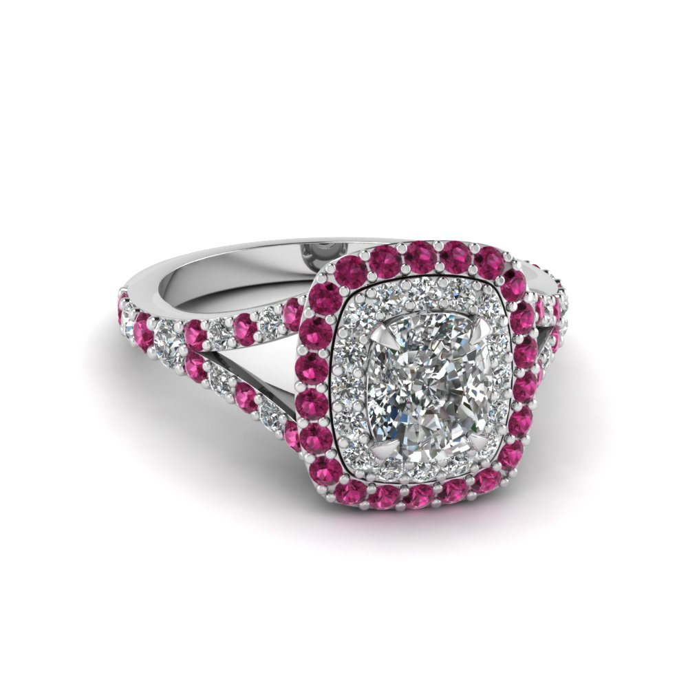 cushion cut diamond double halo engagement ring with pink sapphire in 18K white gold FD1025CURGSADRPI NL WG