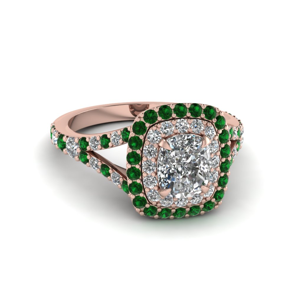 cushion cut diamond double halo engagement ring with emerald in 14K rose gold FD1025CURGEMGR NL RG
