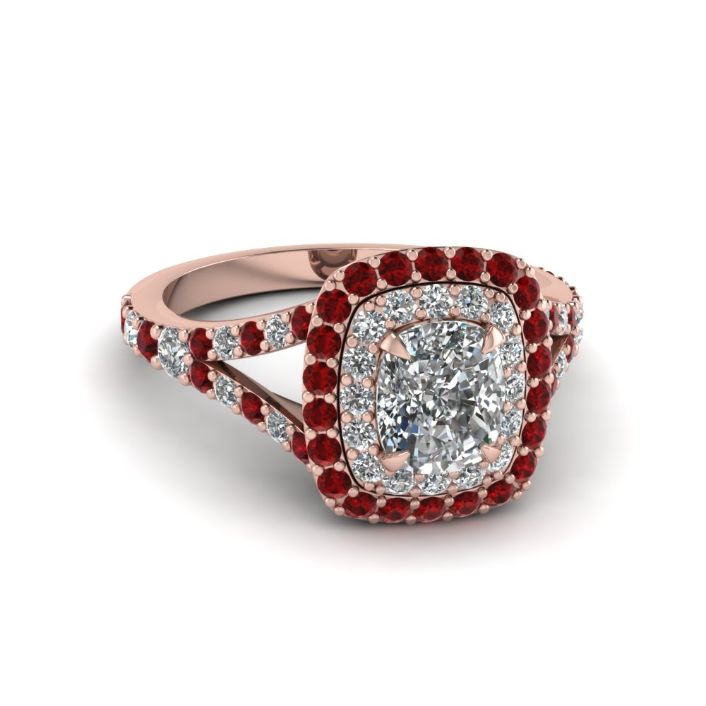 Cushion Cut Ruby Halo Diamond Rings