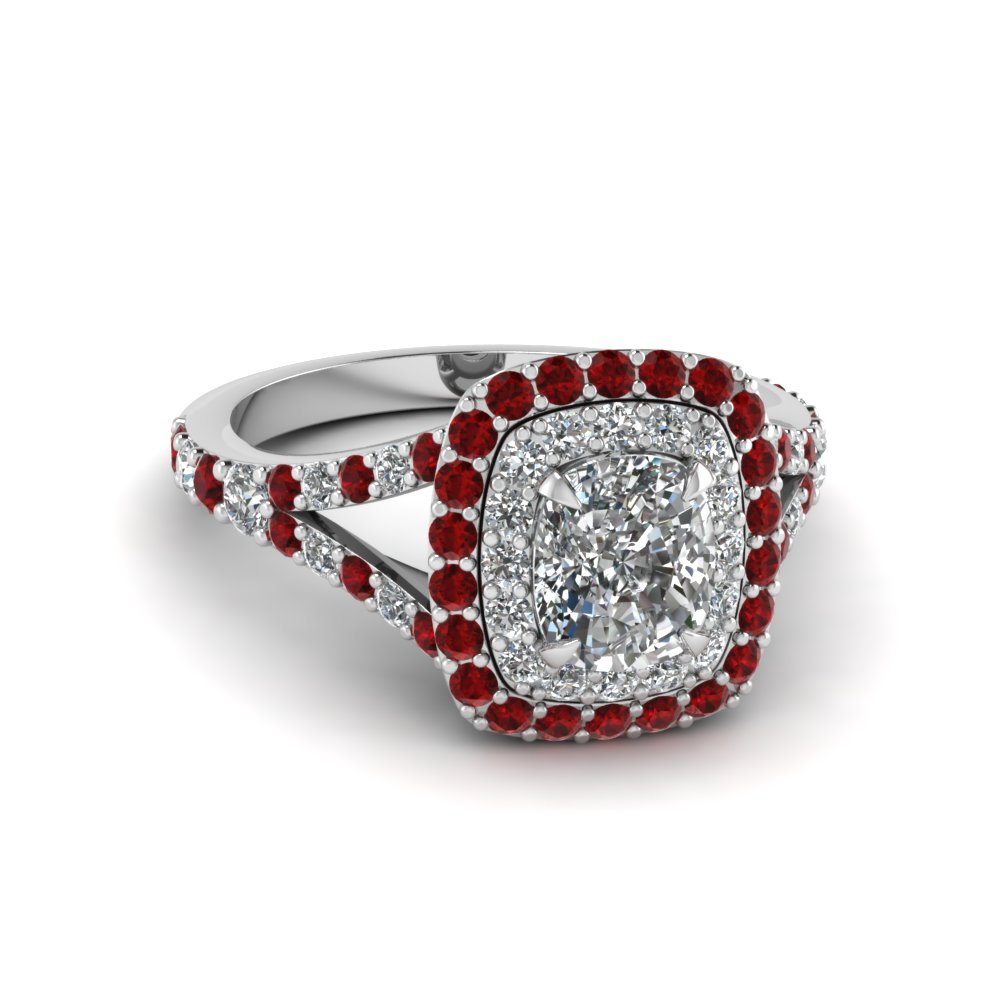 Accent Ruby Double Halo Ring