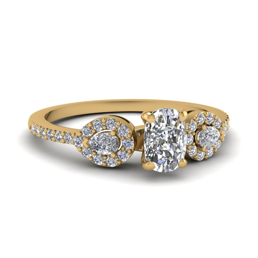 18K Yellow Gold Cushion Cut Side Stone Engagement Rings