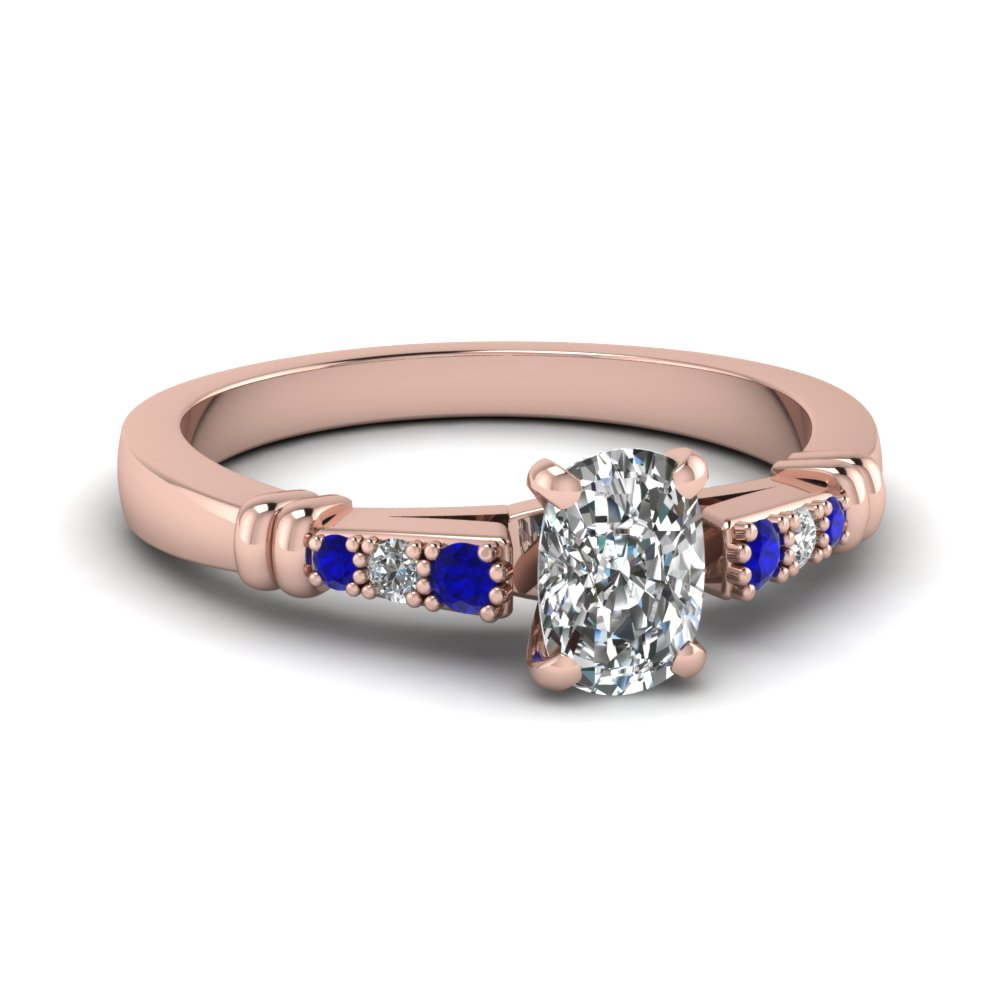 pave bar set cushion cut diamond engagement ring with sapphire in FDENS363CURGSABL NL RG