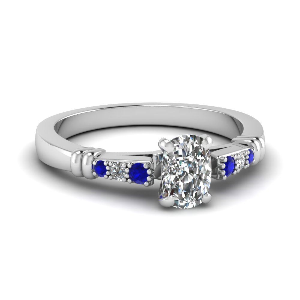 pave bar set cushion cut diamond engagement ring with sapphire in FDENS363CURGSABL NL WG