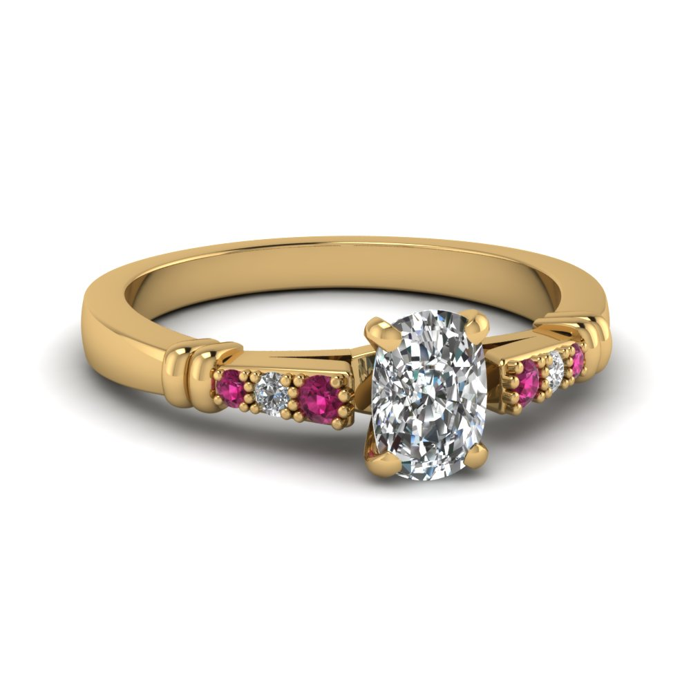 pave bar set cushion cut diamond engagement ring with pink sapphire in FDENS363CURGSADRPI NL YG