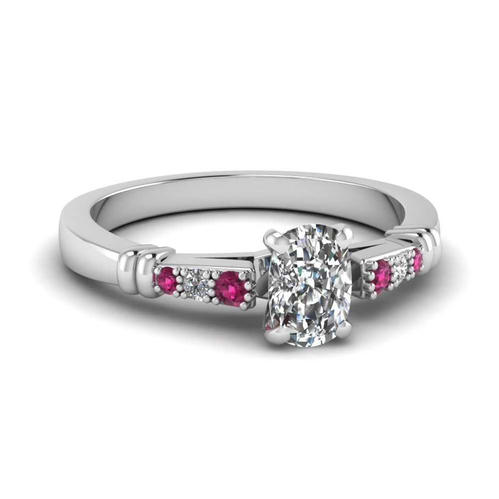 pave bar set cushion cut diamond engagement ring with pink sapphire in FDENS363CURGSADRPI NL WG