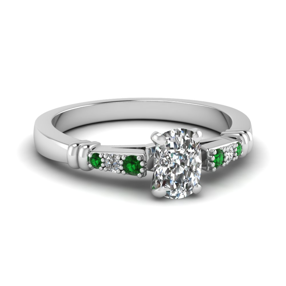pave bar set cushion cut diamond engagement ring with emerald in FDENS363CURGEMGR NL WG
