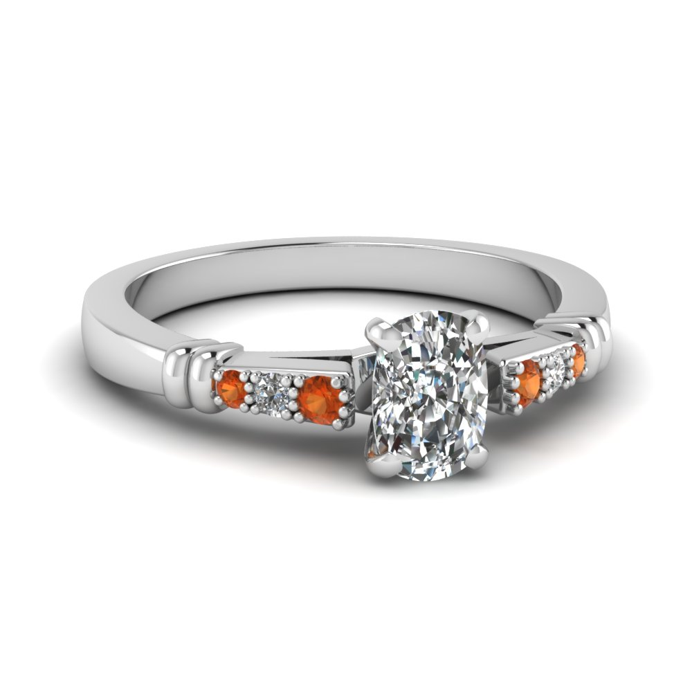 pave bar set cushion cut diamond engagement ring with orange sapphire in FDENS363CURGSAOR NL WG