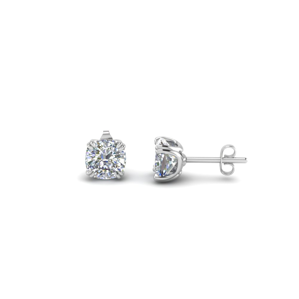 Platinum Cushion Cut Diamond Earring 1 Ct