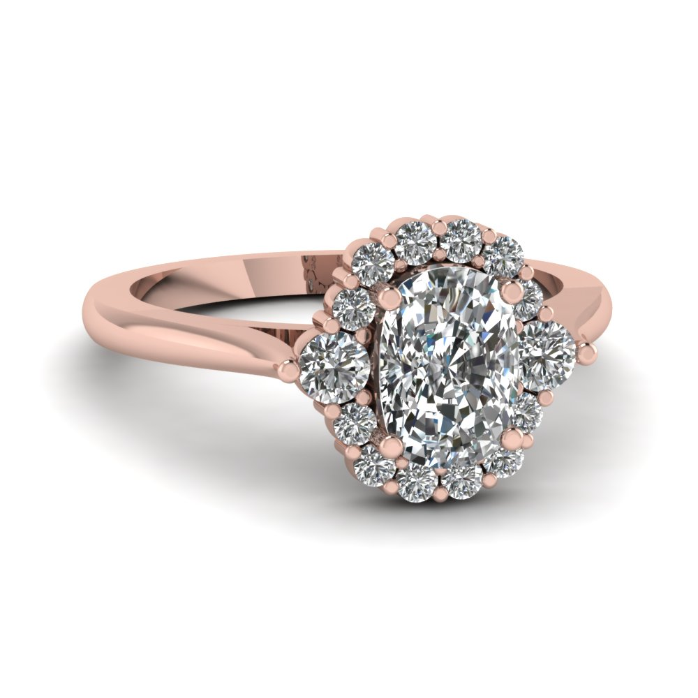 Cushion Cut Diamond Engagement Ring In 14K Rose Gold