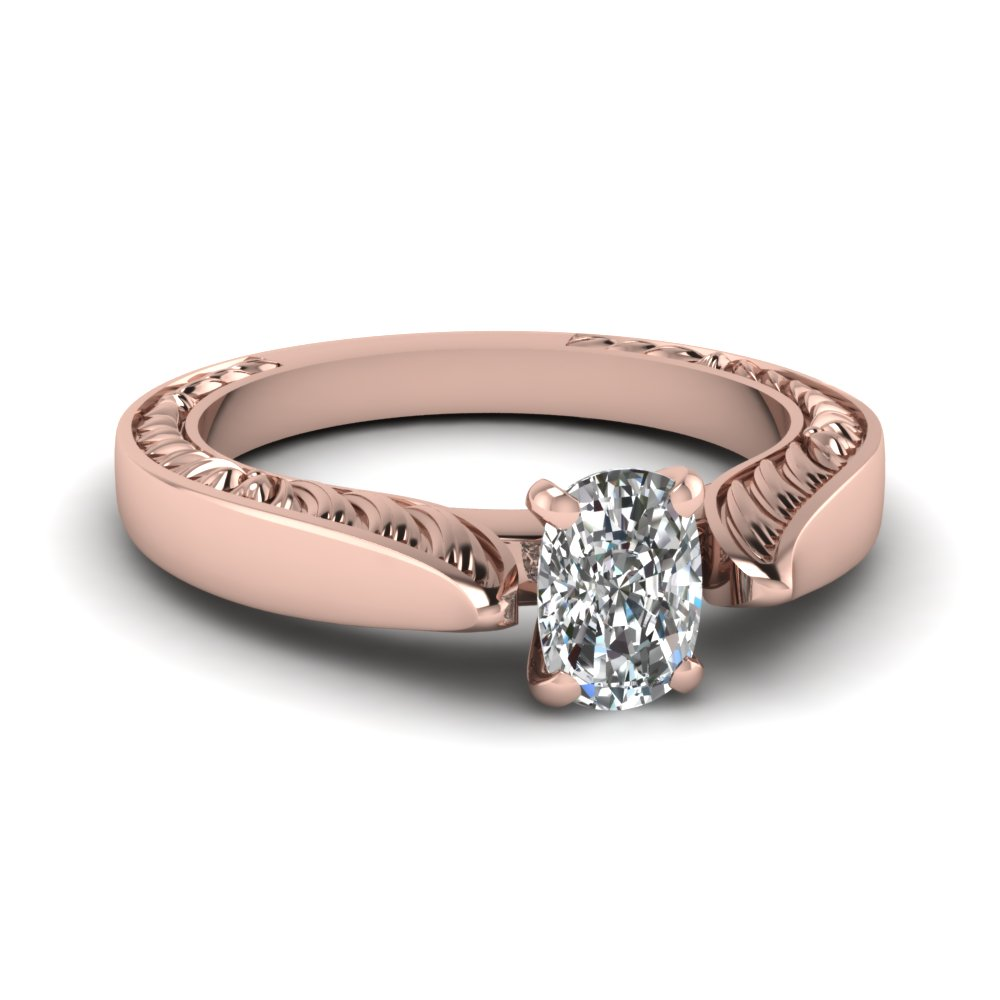 Flake Cushion Cut Solitaire Engagement Ring