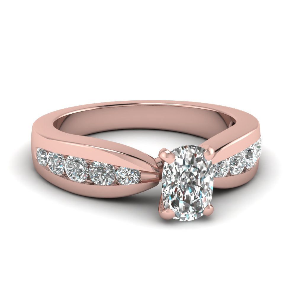 Pink Gold Diamond Ring For Womens
