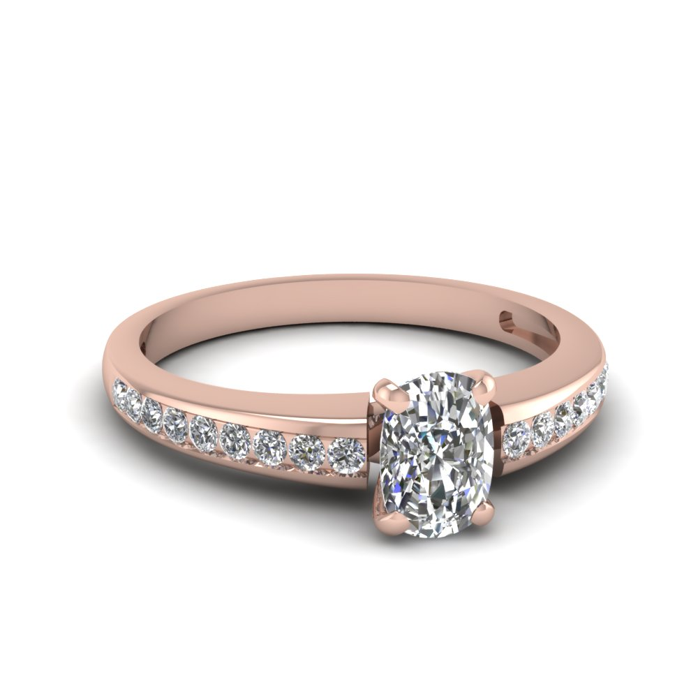 Cushion Diamond Simple Engagement Ring With Round Accents