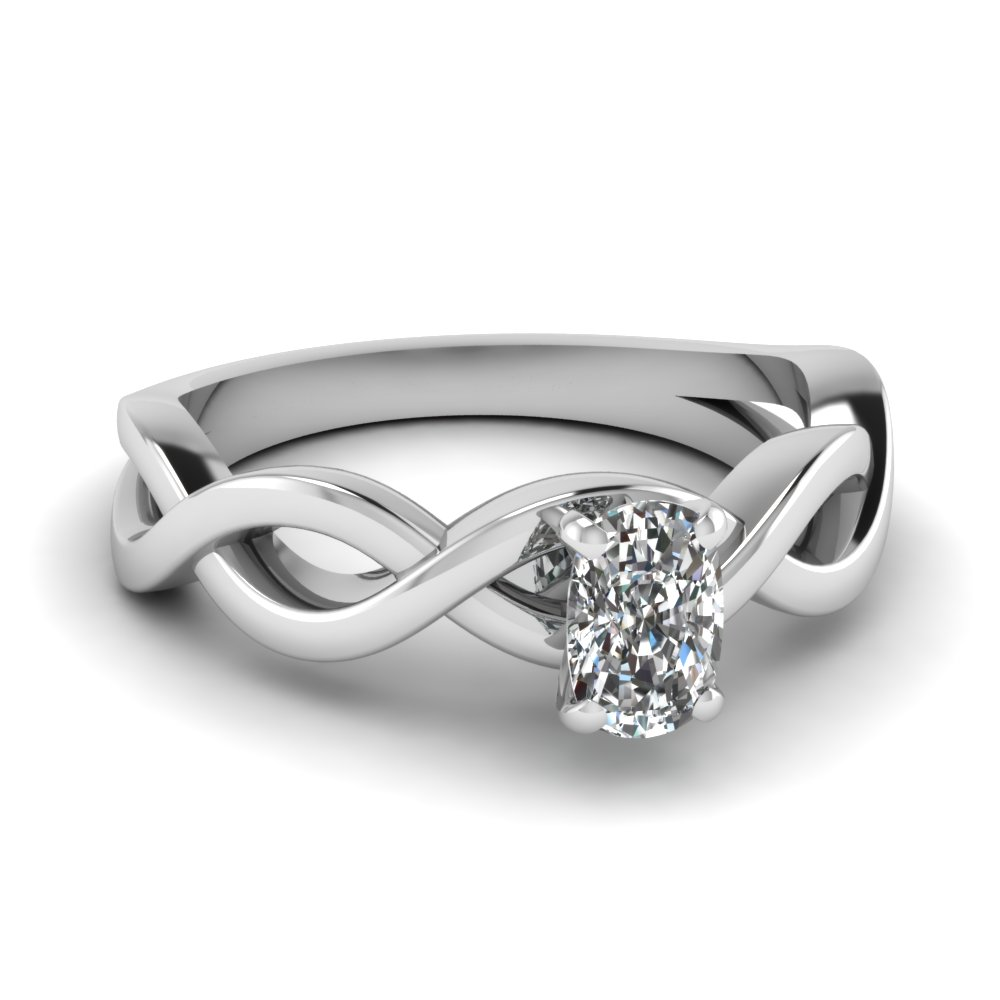 infinity cushion diamond solitaire engagement ring in FD1123CUR NL WG