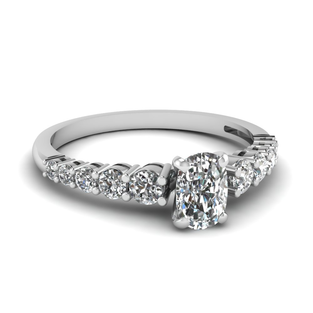 graduated cushion diamond engagement ring in FDENS3056CUR NL WG