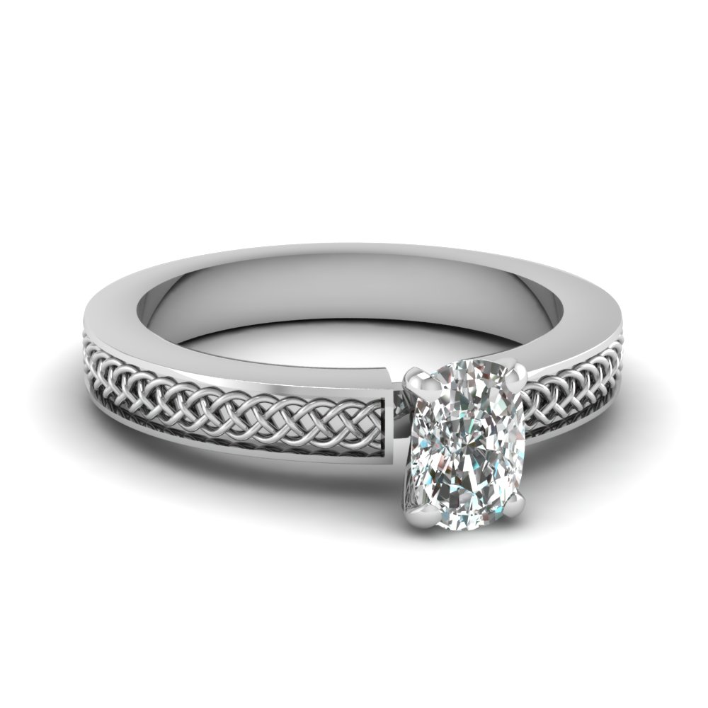 weaved design cushion cut solitaire engagement ring in FDENS3617CUR NL WG