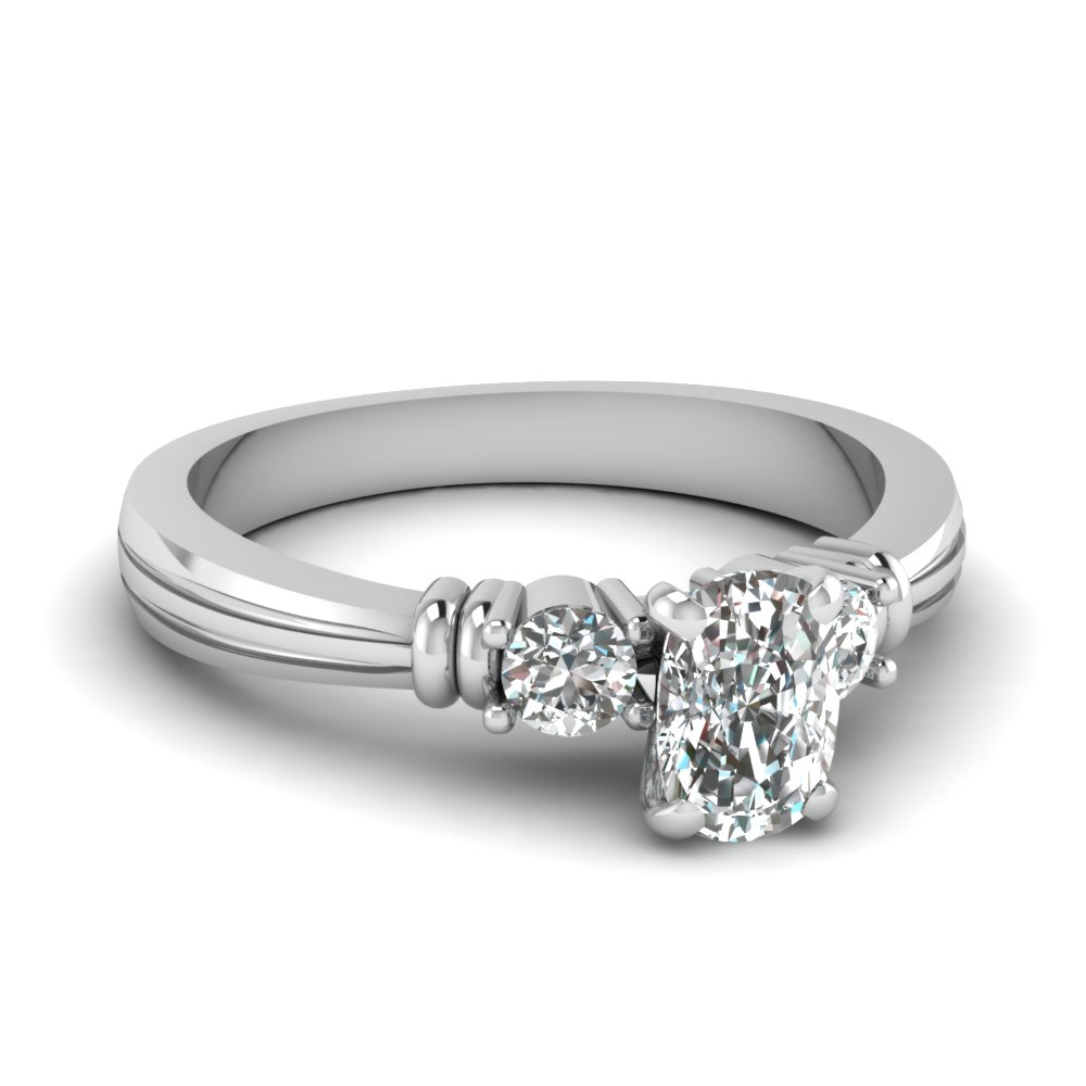Cushion Cut Tapered 3 Stone Diamond Engagement Ring In 14K White Gold