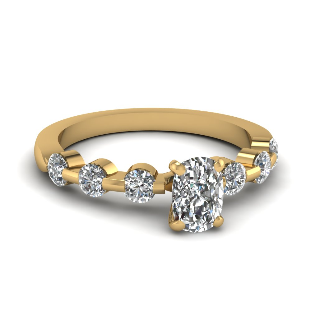 Cushion Cut Yellow Gold Petite Engagement Ring