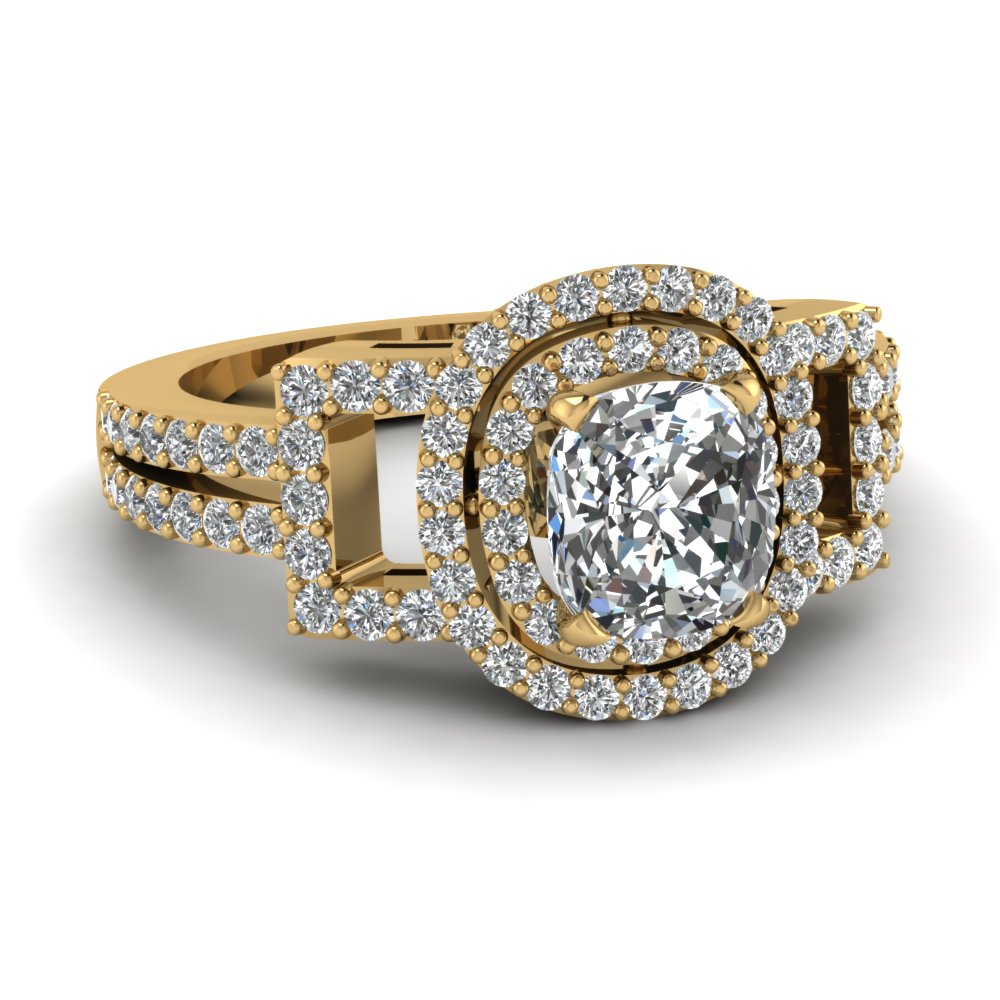 Cushion Diamond Yellow Gold Double Halo Ring