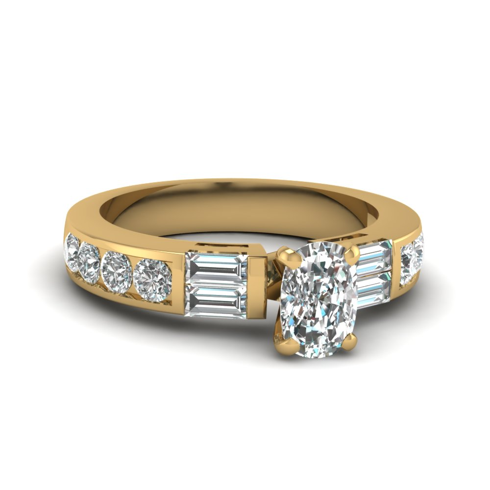Channel Set Baguette Cushion Diamond Ring